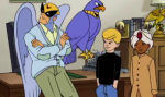 Harvey Birdman Attorney at Law meets with the Jonny & Haji  to explain custody suits